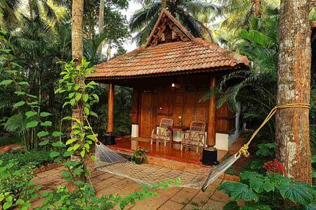 Cottage entrance at Somatheeram Kerala India