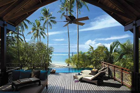 Deck and private pool at Shangri la Villingili Maldives
