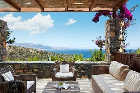 Deluxe Room terrace at Daios Cove Crete Greece
