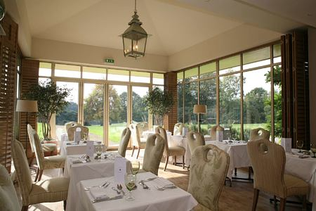 Dining room view over grounds at Grayshott Spa England