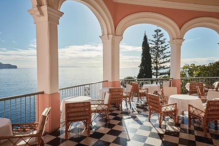 Dining terrace with seaview at Belmond Reids Palace Madeira Portugal