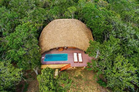 Drone view of one of the Chena Huts Sri Lanka