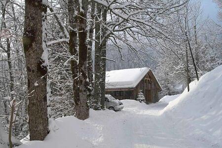 Enchanting snow scene at Ferme de Moudon France