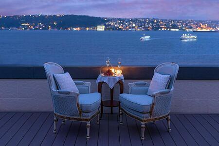 Evening View from Suite at Shangri la Bosphorus Turkey