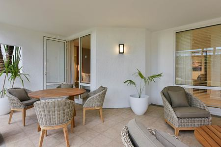 Family apartment living area at Le Canonnier Mauritius