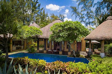 Front view of Presidential Villa with Private Pool at Oberoi Mauritius