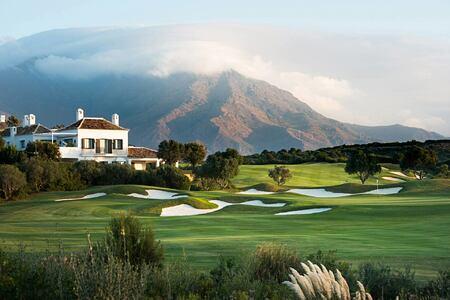 Golf with mountain backdrop at Finca Cortesin Spain
