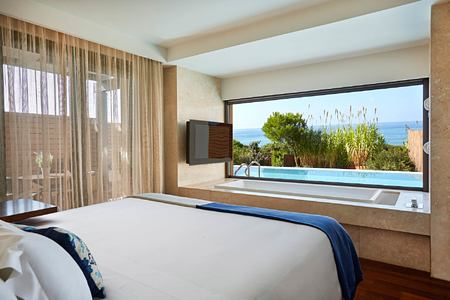 Grand Infinity Suite Sea Bedroom at Romanos Costa Navarino Greece