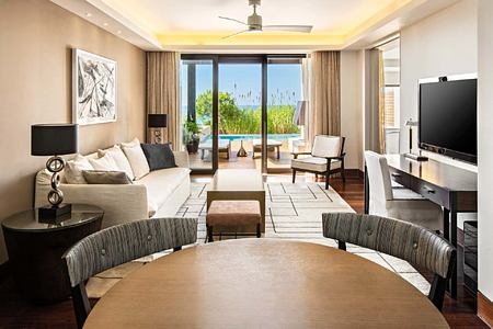 Grand Infinity Suite Sea living room at Romanos Costa Navarino Greece