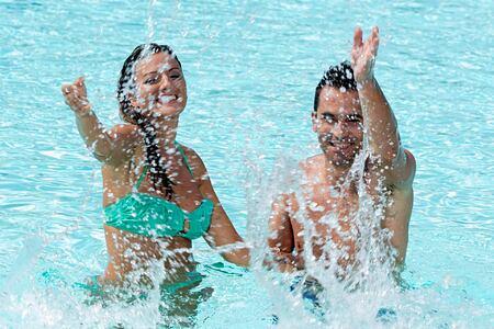 Having fun in the pool at Vidamar Algarve Portugal