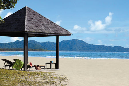 Idyllic beach at Shangri la Rasa Ria Borneo Malaysia