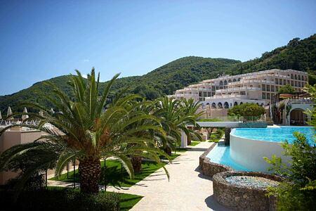 Infinity pool and view at Marbella Corfu Greece