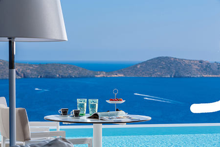 Island view from Superior Suite private pool at Elounda Gulf Villas and Suites Crete