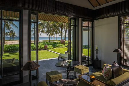 Living room with seaview at The Nam Hai Vietnam