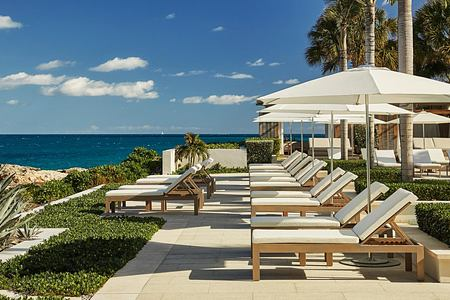 Loungers with view of sea at Four Seasons Anguilla