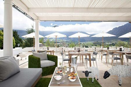 Miko Restaurant terrace at Mont Rochelle Franschhoek South Africa