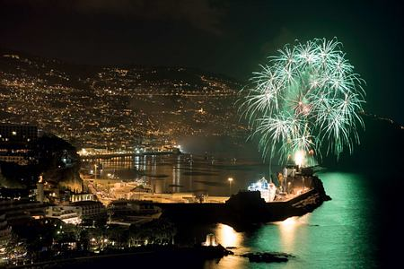 Nightime aerial view with fireworks at Belmond Reids Palace Madeira Portugal
