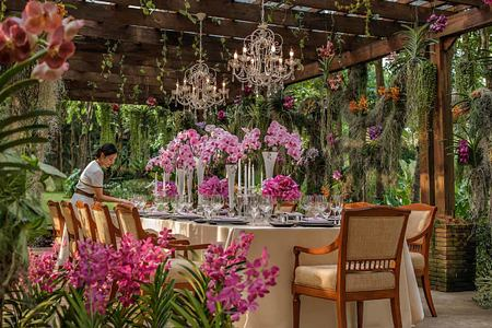 Orchids at dining table at Four Seasons Chiang Mai Thailand