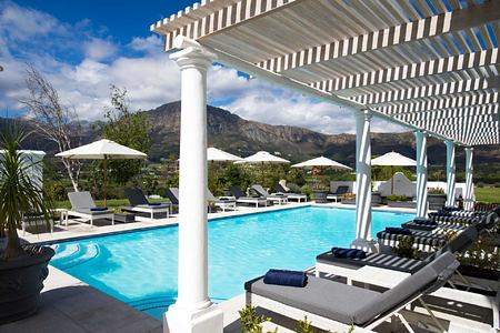 Outdoor pool at Mont Rochelle Franschhoek South Africa