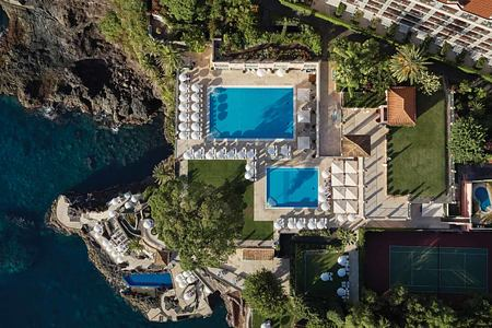 Overhead aerial view of Belmond Reids Palace Madeira Portugal