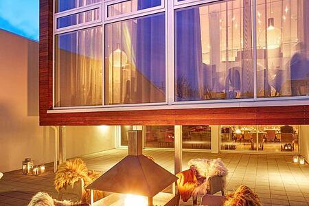 Patio at night at Icelandair Hotel Iceland