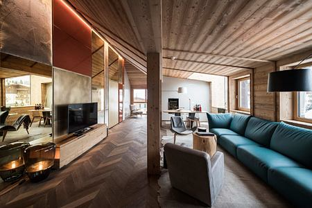 Penthouse Living Room at Rosa Alpina Italy