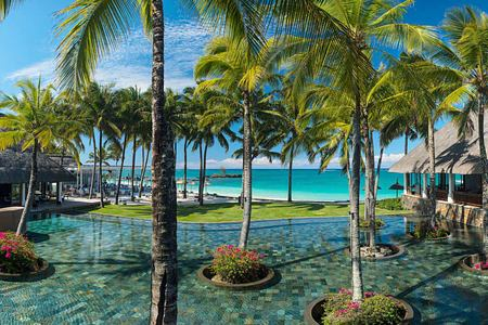 Pool and beach view at Constance Belle Mare Mauritius
