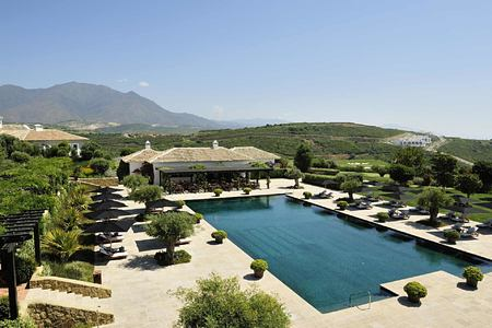 Pool and mountains at Finca Cortesin Spain