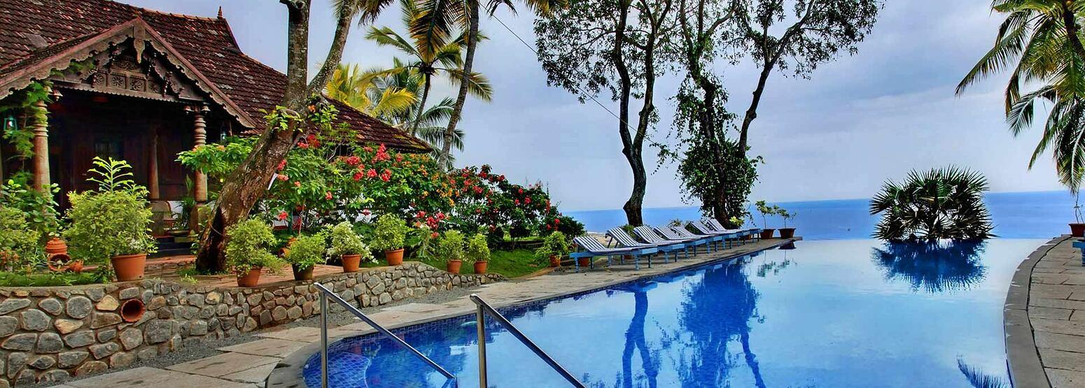 Pool and seaview at Somatheeram Kerala India