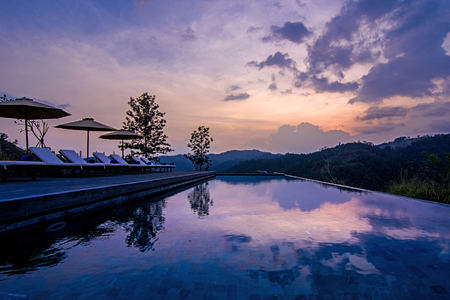 Pool at dusk at Santani Sri Lanka