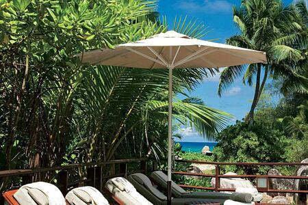 Pool deck at Constance Lemuria Resort Seychelles