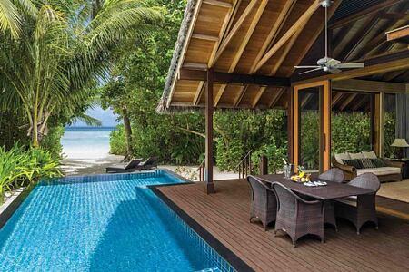 Private pool and beachfront villa at Shangri la Villingili Maldives