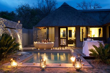 Private pool at night at Londolozi South Africa