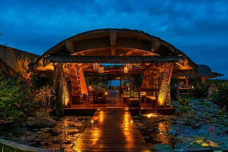 Reception at night at Chena Huts Sri Lanka