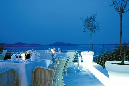 Restaurant at night at Elounda Gulf Villas and Suites Crete