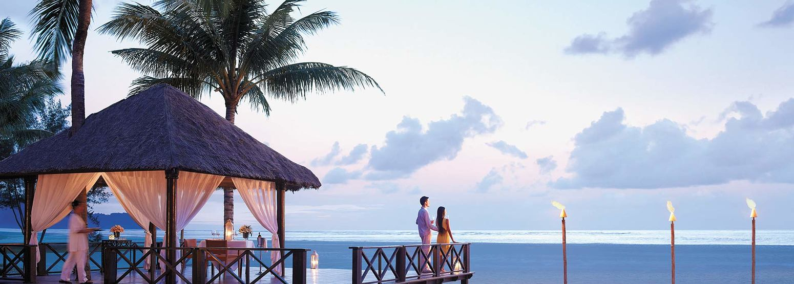 Romantic dining on the beach at Shangri la Rasa Ria Borneo Malaysia
