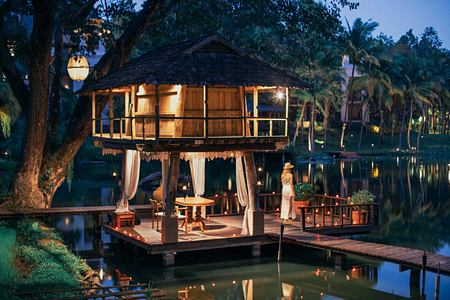Romantic dinner setting at Four Seasons Chiang Mai Thailand