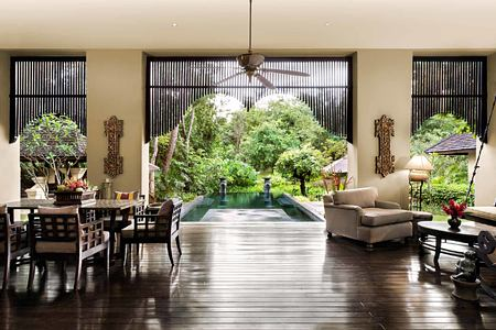 Room overlooking pool at Four Seasons Chiang Mai Thailand