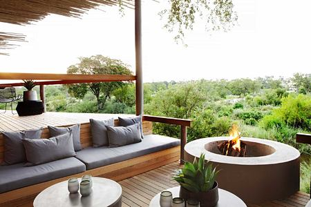 Small boma and view across bush at Londolozi South Africa