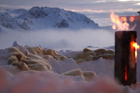 Snow lounge at Tschuggen Grand Arosa Switzerland