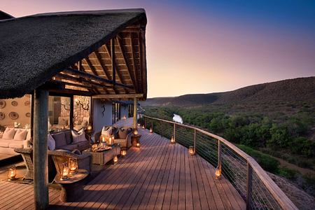Suite and balcony over river at Great Fish River Lodge South Africa