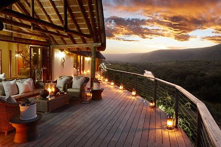 Suite and balcony over river at dusk at Great Fish River Lodge South Africa
