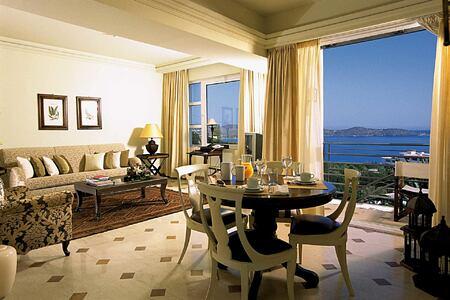 Suite living room at Elounda Gulf Villas and Suites Crete