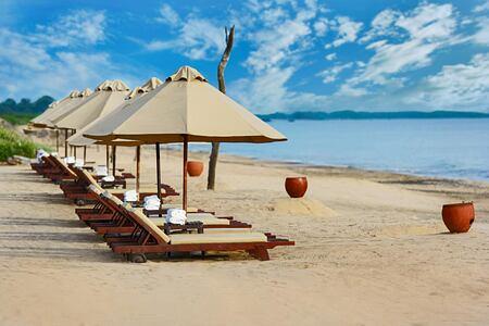 Sunbeds on beach at Jungle Beach Sri Lanka