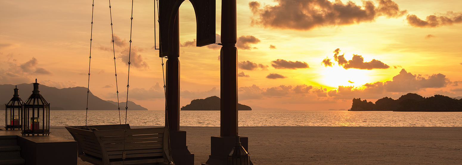 Sunset view across the sea at Four Seasons Langkawi Malaysia