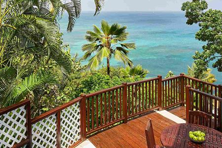 Terrace pool and view at Windjammer Landing St Lucia
