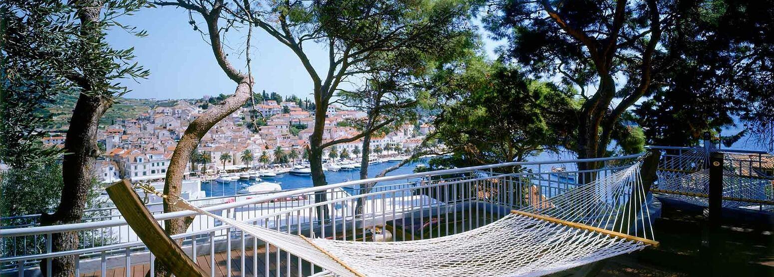 Terrace with hammock at Adriana Hvar Spa Hotel Croatia
