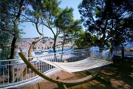 Terrace with hammock at Adriana Hvar Spa Hotel Croatia