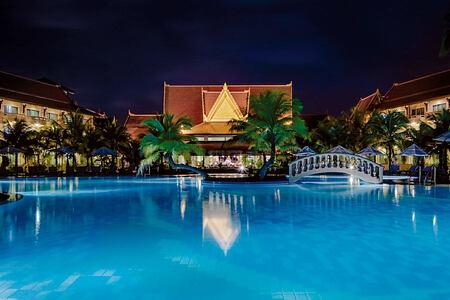 The pool at night at Sokha Beach Resort Cambodia