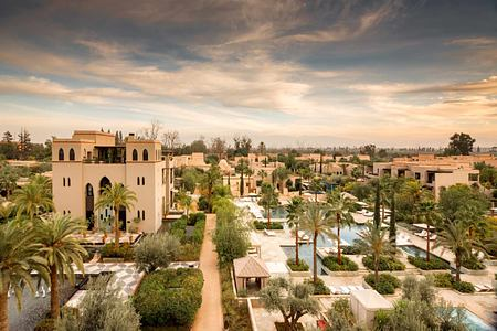 View across hotel complex at Four Seasons Marrakech Morocco